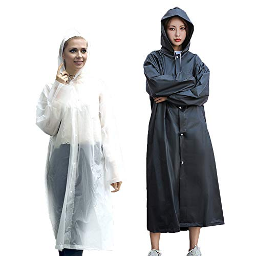 Rain Poncho Reusable Raincoat, 2 Pack Adult Raincoat with Hoods and Sleeves, Thicken Clear Ponchos for Men Women Teens(Black+White)
