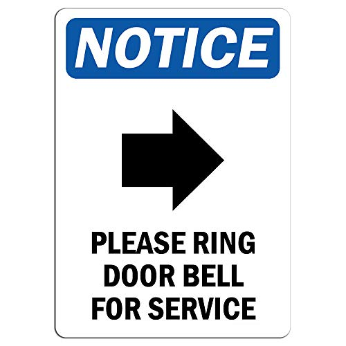 - Notice - Please Ring Door Bell for Service Sign with Symbol | Label Decal Sticker Retail Store Sign Sticks to Any Surface 8