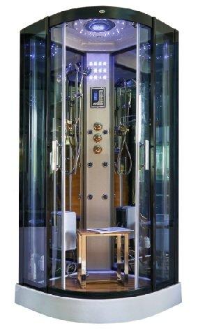 DUSCHTEMPEL FERTIGDUSCHE DUSCHKABINE GLAS KOMPLETT DUSCHEWANNE 90 X 90 cm LED