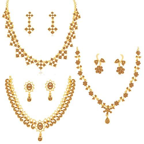 Sukkhi Wedding Jewellery Diamond Jewellery Set for Women (Brown) (CBN82143)