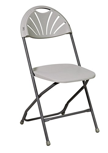 Office Star Resin Multi-Purpose Rounded Folding Chair with Grey Accents, Set of 4