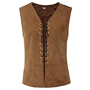 SCARLET DARKNESS Mens Renaissance Steampunk Lace-up Vest Gothic Waistcoat