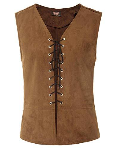 SCARLET DARKNESS Mens Gothic Steampunk Vest Waistcoat Renaissance Vest Tops Color-2 M]()