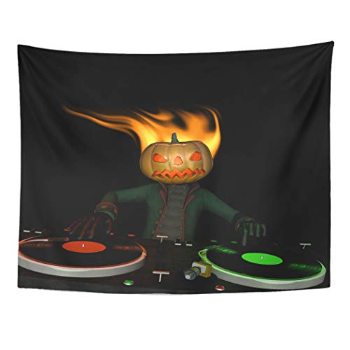 Emvency Wall Tapestry Disco Flaming Pumpkin Head is in The House and Mixing Up Some Halloween Horror Turntables with Vinyl Albums Disc Jockey Decor Wall Hanging Picnic Bedsheet Blanket 80x60 Inches