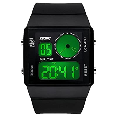 Mens Sport Outdoor Rectangle Dual Time Display Waterproof Silicone Band Fashionable Wrist Watch with Electrical Colorful LED Analog Digital Backlight Alarm Stopwatch - Black