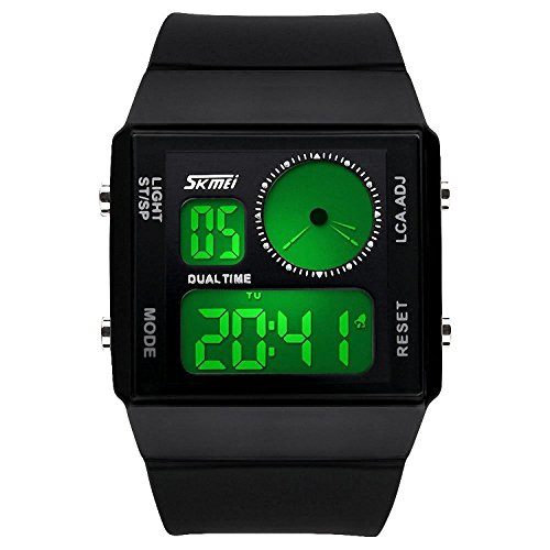 Mens Sport Outdoor Rectangle Dual Time Display Waterproof Silicone Band Fashionable Wrist Watch with Electrical Colorful LED Analog Digital Backlight Alarm Stopwatch - Black (Dual Time Stopwatch)