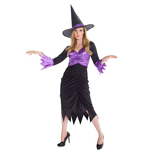 Womens Colourful Purple Witch Magical Fancy Dress Costume Costume,Med UK 10-12 / US 6-8,Purple - Colourful Fancy Dress Costumes