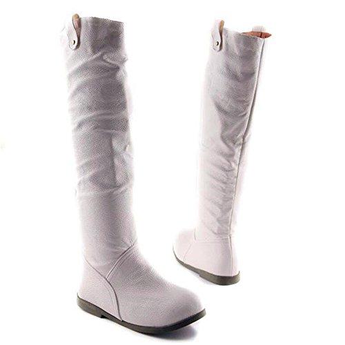 de de de botas sólido caliente redonda plano cuero fondo color de White Qxw cabeza mujer wE7q4CWc0x