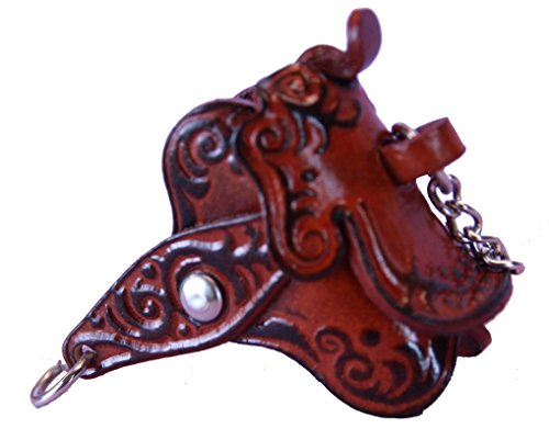 Horse Saddle Keychain - Brown Horses Saddle Keyring Key Chain - Leather Gifts for Girls -#2091