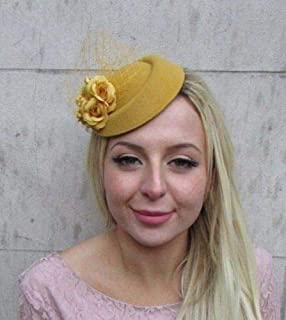Mustard Yellow Gold Rose Floral Flower Pillbox Hat Hair Fascinator Clip 6414 4558b5e7878