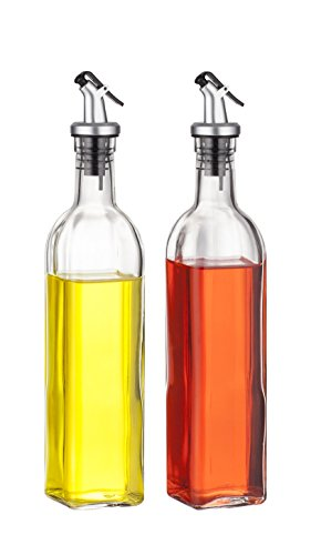 Best Token 2 Pieces New Oil and Vinegar Glass Dispenser Storage Bottles Cruet, Non-drip Pouring Spout 17 oz 500ml(button top) (Vinegar Bottle Dispenser compare prices)