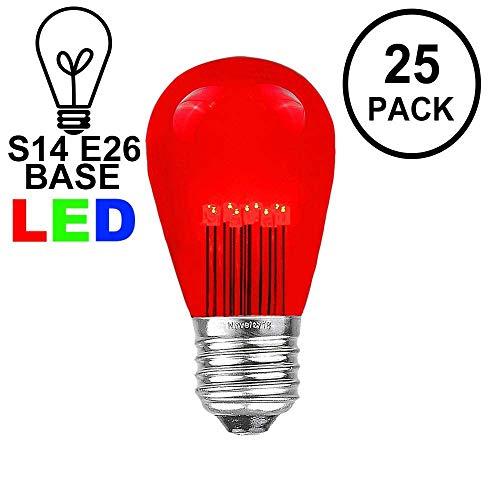 Novelty Lights 25 Pack LED S14 Outdoor Patio Edison Replacement Bulbs, Red, E26 Medium Base, 1 Watt