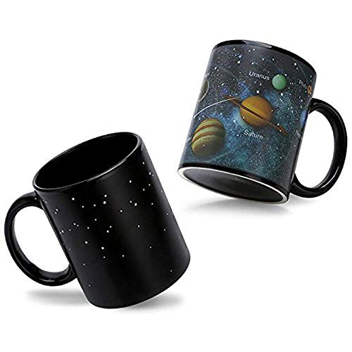 (Heat Sensitive Color Changing Coffee Mug Magic Heat Changing Mugs Solar System Porcelain Tea Cup Funny Morphing Mugs Unique Christmas Birthday Gifts for Men, Boyfriend, Friends, Husband, 12 Oz)