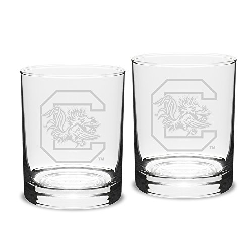 NCAA South Carolina Fighting Gamecocks Adult Set of 2 - 14 oz Double Old Fashion Glasses Deep Etch Engraved, One Size, - Fashioned Old Carolina Double