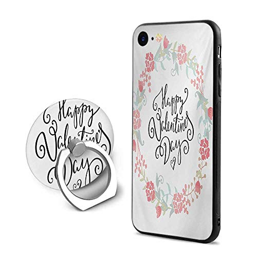 - Valentines Day iPhone 6 Plus/iPhone 6s Plus Cases,Floral Arrangements Buds Roses Tulips Circle Love Valentine Hearts White and Black,Mobile Phone Shell Ring Bracket