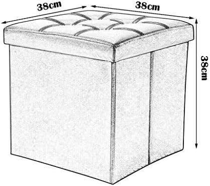 qwert Klappbarer Aufbewahrungshocker aus Kunstleder Gepolsterte Fußstütze Praktischer Ottomaner-Fußhocker Klappbare Würfelbox Einzelsitz für Wohn- und Schlafzimmer Max.100KG