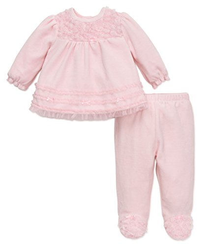 Velour Toddler Pants Girls (Little Me Baby Girls' Tunic and Velour Pant Set, Pink, 9 Months)