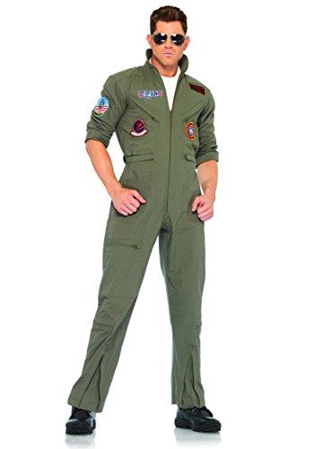 - Leg Avenue Mens Top Gun Costume Flight Suit - XS Khaki/Green