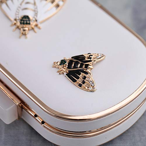 Banquet Nightclub White Dance Handbag Leather Clutch PU Bag for Dress Party Butterfly Evening Rhinestone Alloy Women 5wq4gT5