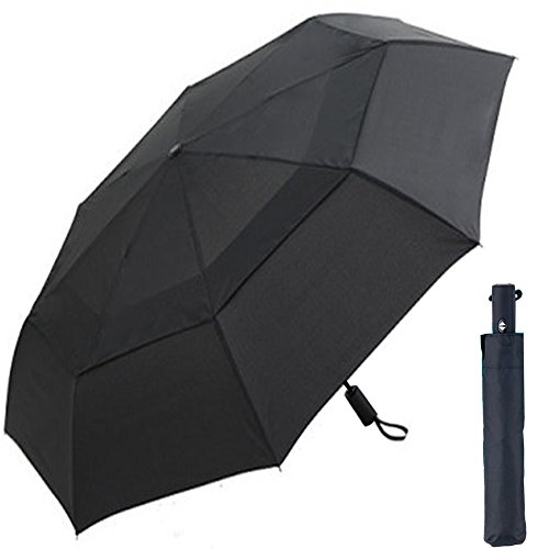 Cnhy Golf Automatic Umbrella  Folding Travel Windproof 57 Inch Large Double Crown Cover Umbrella   Automatic Opening  Sturdy And Portable  Black