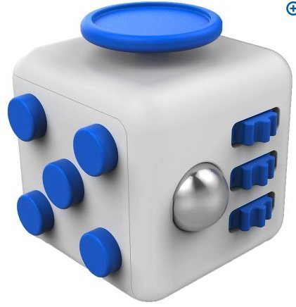 Price comparison product image New Spinzz 6 Sides Fidget Cube Dice, Fidget Stress Cube for Anxiety, Stress Relief, Attention, Concentration, Focus Cube Desk Work Puzzle Toy for Children/Adult Prime, Gift ADHD, EDC Blue/White2017