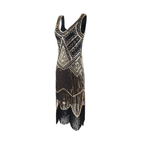 Landfox ✈Elegant Bead Fringe Sequin Lace Party Dress,Women's Vintage Flapper Cocktail Prom Dress Gold]()