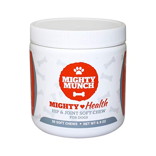 Mighty Munch Hip and Joint Soft Chew Glucosamine Supplements for Dogs - with MightyPro Glucosamine Chondroitin and MSM - Promotes Greater Mobility and Pain Relief