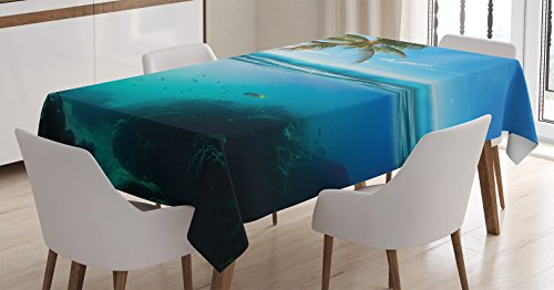 Ambesonne Ocean Decor Tablecloth, Tropical Underwater Shot with Surface Coconut Tree and Sky Aqua Water Theme Paradise Image, Rectangular Table Cover for Dining Room Kitchen, 60x90 Inches, - Coconut Images Water