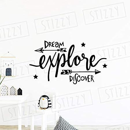 xingbuxin Tatuajes de Pared Decoración de la habitación del Cuarto de niños Cotizaciones Dream Explore Discover Pegatinas de Pared Extraíble Adventure Art Mural Kid Gift 4 75x42cm: Amazon.es: Hogar