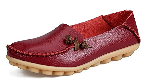 Auspicious beginning Ladies Leather Loafers Fashion Moccasins Flats Shoes Wine Red