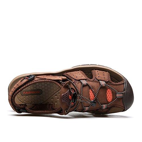 SSJH メンズ スポーツサンダル スニーカー 靴 つま先保護 牛革 夏 ビーチ カジュアル アウトドア 通気性 快適 軽量 履き地よい 耐久性 お出かけ 防滑 通勤 通学 旅行 プレゼント