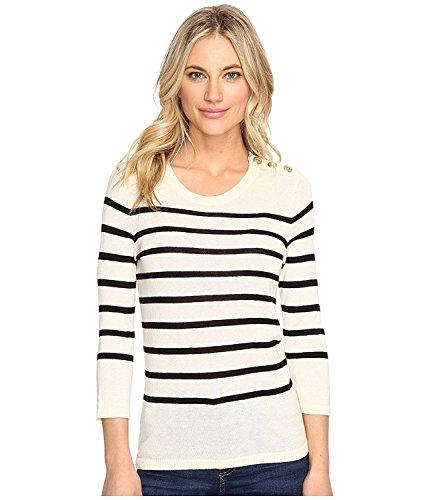 kensie Women's Cotton Blend Sweater with Stripes KS1K5674 Bone Combo Sweater -