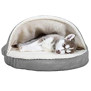 Furhaven Pet – Plush Ergonomic Orthopedic Foam Mattress Dog Bed, Round Snuggery Hooded Dog Bed, and ThermaNAP Self…