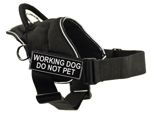 DT Fun Works Harness, Working Dog Do Not Pet, Black With Reflective Trim, X-Large - Fits Girth Size: 34-Inch to 47-Inch by Dean & Tyler