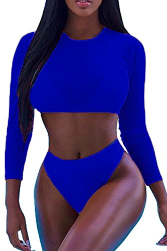 Meyeeka Women Summer Mesh Long Sleeve Swimsuits 3 Pieces Bikini Beach Swimwear Navy S