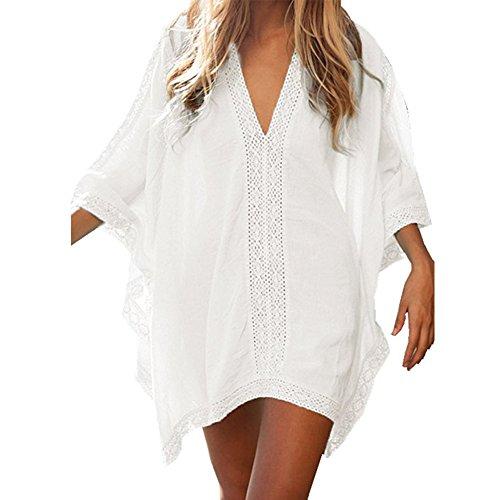 Gloria JR Viscose Rayon Fabric Lace Beach Blouse Bikini Blouse Beach Swimsuit Cover-Up (White)