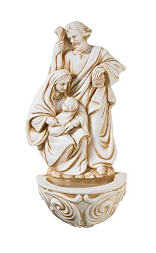 (Resin Holy Family Saint Joseph Mary and Infant Christ Water Font 6.5 Inch            )