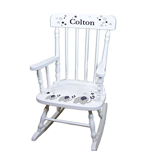 Children's Personalized White Elephant Navy Rocking Chair by MyBambino