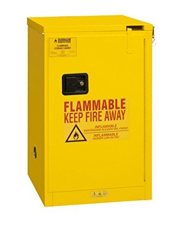 "Durham 1016S-50 Welded 16 Gauge Steel Flammable Safety Self-Closing Door Cabinet, 1 Shelf, 16 gal Capacity, 18"" L x 23"" W x 45"" H, Yellow Powder Coat Finish"