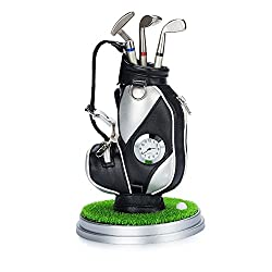 Crestgolf Desktop Gift Golf Caddy Cart Pens Holder with Clock and Lawn Base 3 Golf Club Shape Ballbpoints included (black silver)