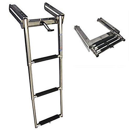 (spareflying Stainless Steel 3-Step Under Platform Slide Mount Boat Boarding Telescoping Ladder)
