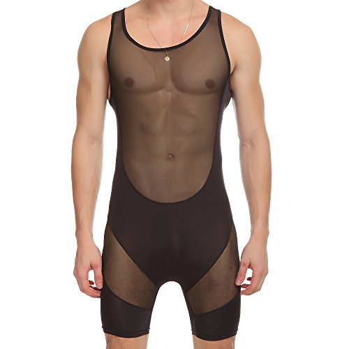 ONEFIT Men's Boxer Underwear See Through Lingerie Bodysuit Tank Top Black M]()