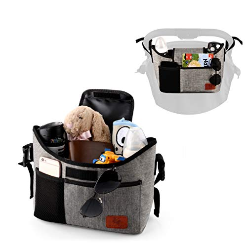 Large Storage Space for Diapers /& Phone Instant Access Wipe Pocket Universal Strap Fit Stroller Organizer Bag.Travel Bag with Shoulder Strap,Insulated Deep Cup Holders