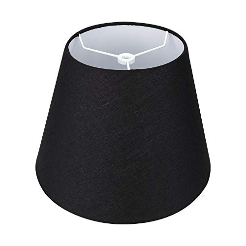 """Small Lamp Shade,Alucset Barrel Fabric Lampshade for Table Lamp and Floor Light,6x10x7.5"""",Natural Linen Hand Crafted,Spider (Black)"""