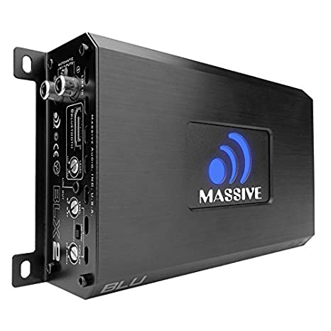 Car Audio 480 Watt 2 Channel Car Amplifier, Bluetooth Streaming Optional 240w x 2 RMS Nano Blu Massive Audio BLX2