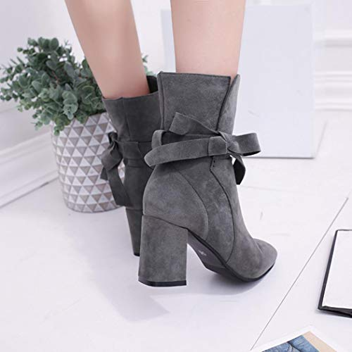 Lolittas Ankle Desert Lace Toe Riding Shoes Suede Platform Insoles Women Block Heel Steel High Rubber Boots Up Gray Winter Zipper Martin SS8Wqw1Fr