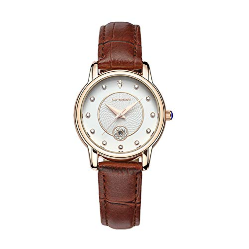 Quartz Analog Fashion Ladies Watch Brown Leather Strap Waterproof Women's Watch Designer Casual Simple Women Wrist Watches (Brown)