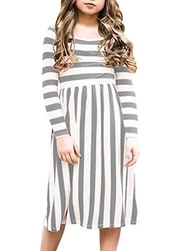 e09fad964 KIDVOVOU Girls Short Sleeve Stripe Dress Summer Long Maxi Dress with ...