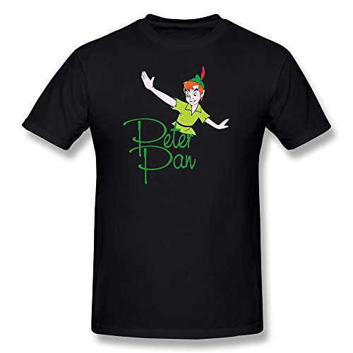 Peter Pan Lost Boy Costumes (AnneLano Men's Peter Pan Never Grow Up Tshirt Small Black)