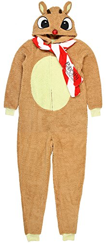 Character Arts Rudolph The Red Nosed Reindeer Fleece Hoodie One Piece Pajma (XXX-Large),Brown, Red, White